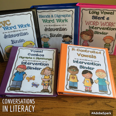 Phonics Word Work Intervention Binders for RtI intervention groups or guided reading groups