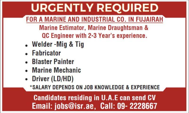 International Ship Repairs FZE Recruitment Marine Estimator, Marine Draughtsman, QC Engineer, Welder, Fabricator, Driver & More For Fujairah, UAE Location