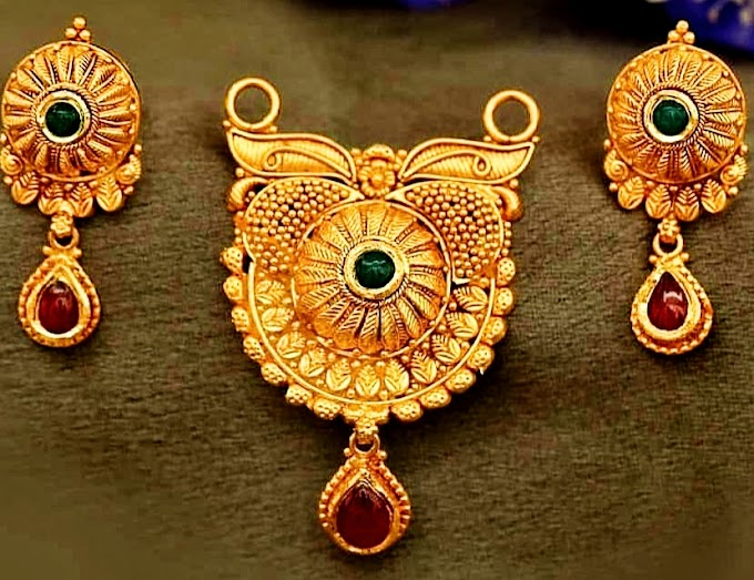 Gold Earrings and mangalsutra jewelry design | Fdbnj