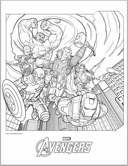 color up avengers 2017 coloring pages - Avengers Coloring Page