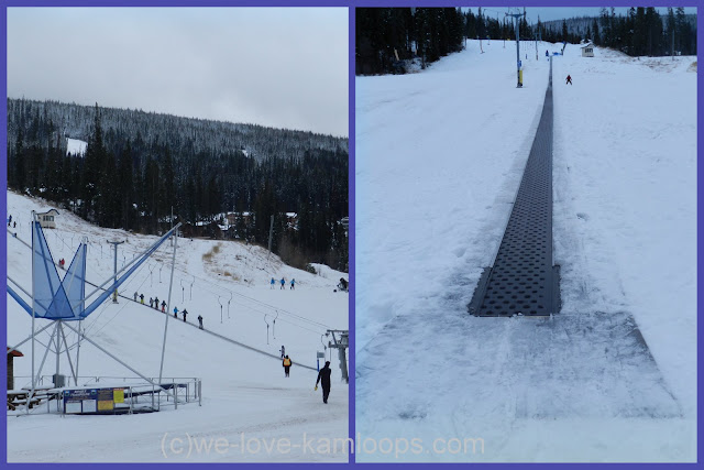 The t-bar and conveyor belt to take young skiers up the small hill