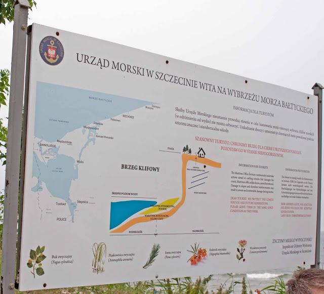 klifowy brzeg morza, informacja turystyczna Niechorze