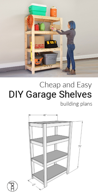 How to build cheap and easy DIY wood garage storage shelves with only 2 tools in 2 hours