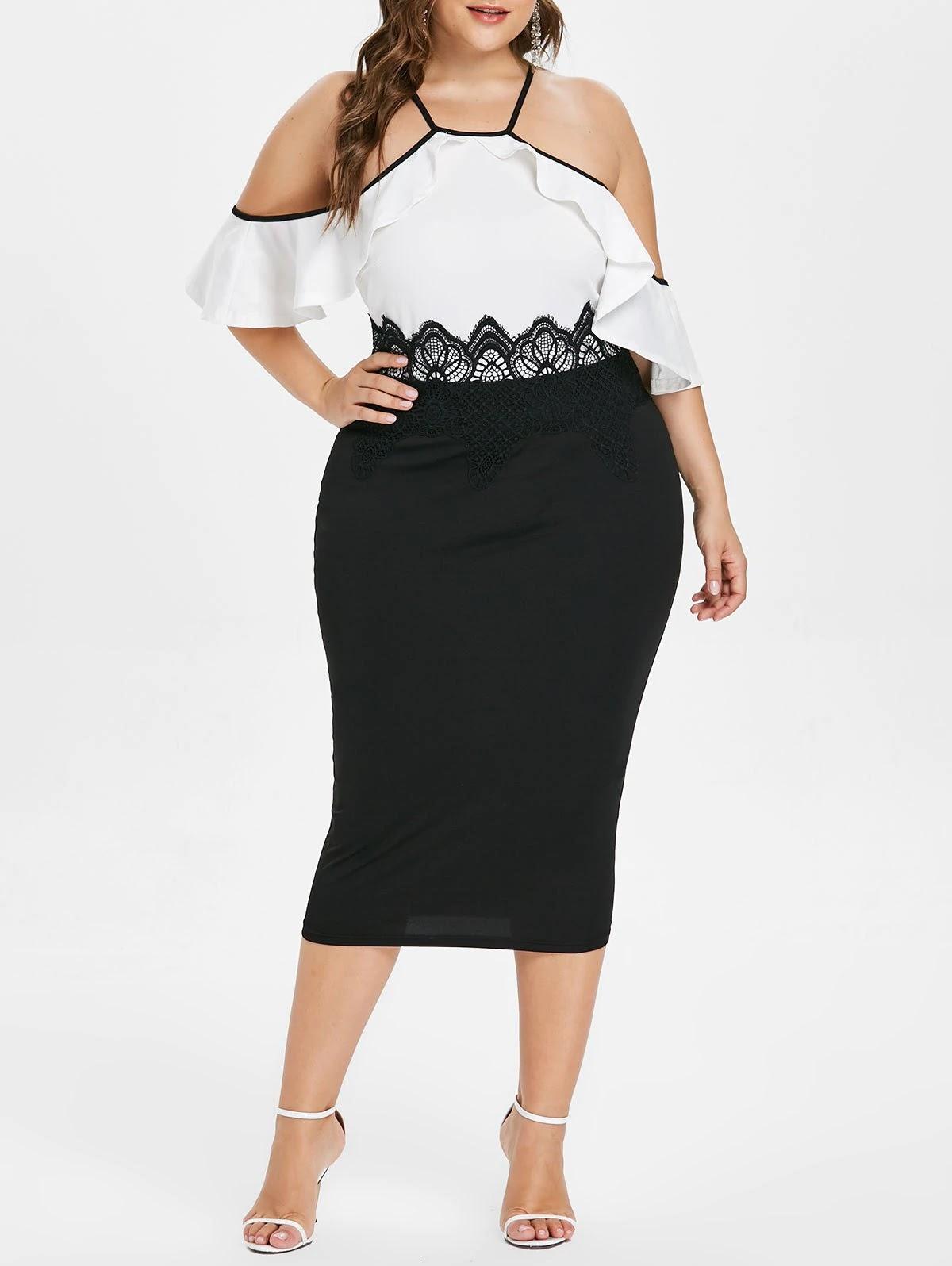 Open Shoulder Ruffle Trim Plus Size Dress