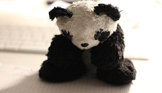 sad panda stuffed doll