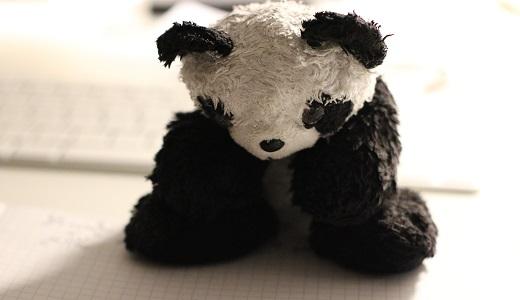 sad panda stuffed doll