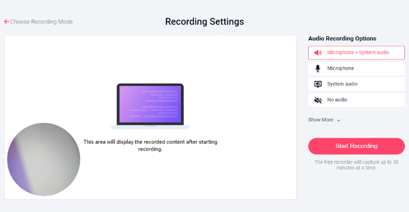 You want to record a video on the screen only or record from a webcam