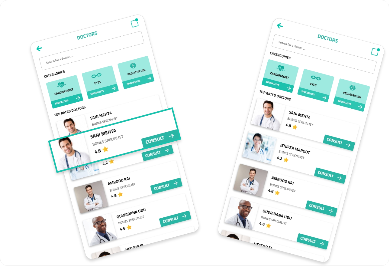 Doctors List- Choose a doctor from many different doctors