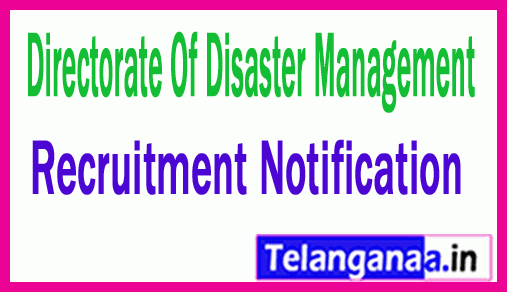 Directorate Of Disaster Management DDM Recruitment Notification