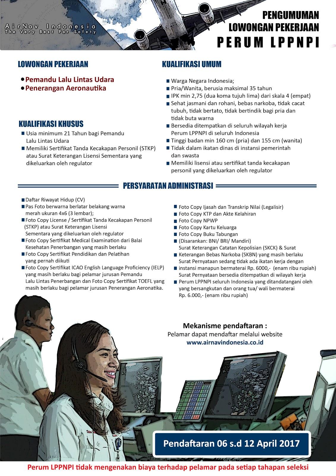 Rekrutmen Perum LPPNPI Tahun 2017 IPK Minimal 2.75