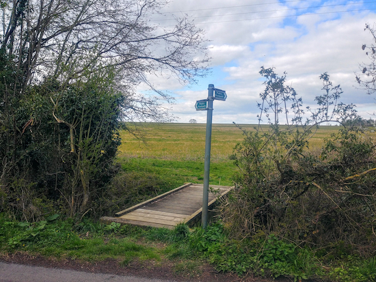 The footpath on the right off Rushden Road (point 13)