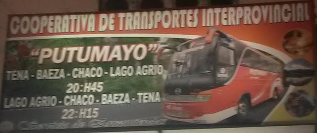 Cooperativa de Transportes Putumayo en la ciudad de Tena
