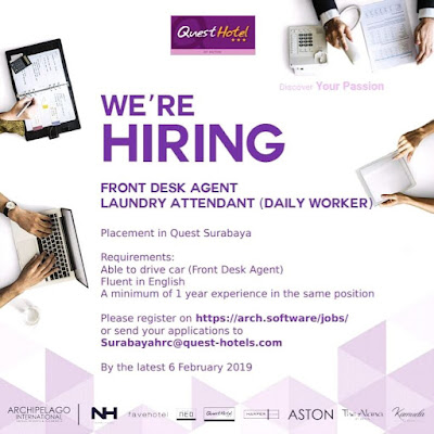lowongan kerja front desk agent dan laundry quest hotel surabaya