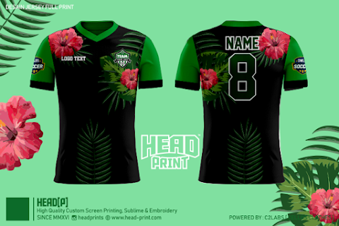 Green Flower Head Print Jersey Full Print Custom