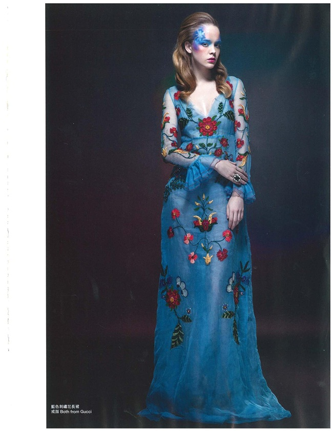 Gucci 2016 Cruise Blue Embroidered Tulle Dress Editorials