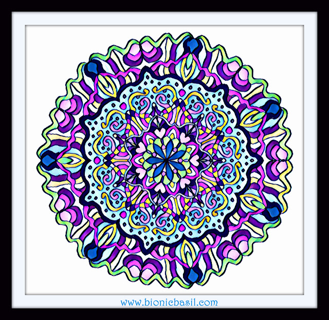 Mandalas on Monday ©BionicBasil® Colouring With Cats Mandala #112 coloured by Cathrine Garnell