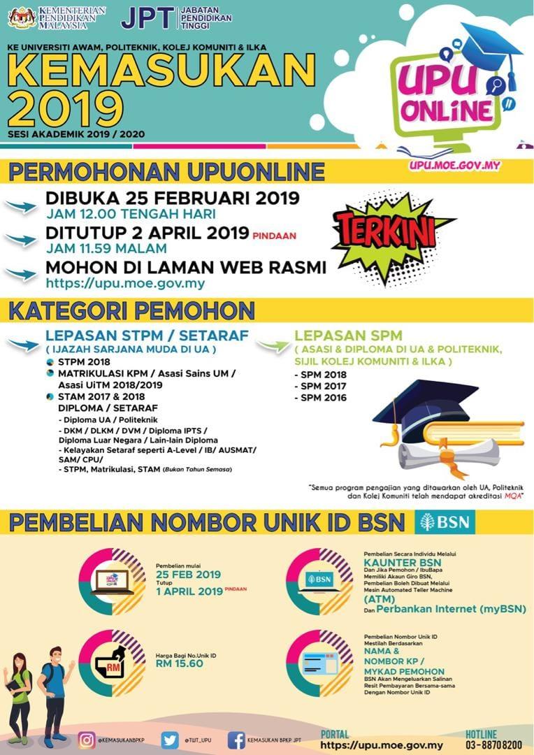 Panduan kemasukan pelajar ke universiti awam UA untuk pelajar Malaysia