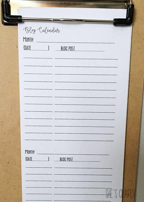 blog calendar