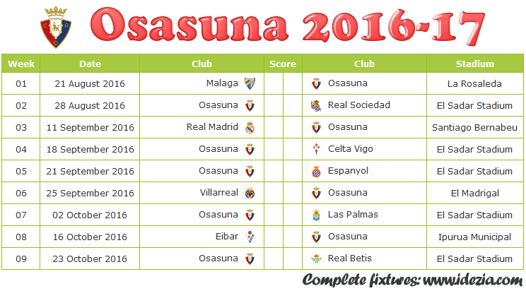 Download Jadwal CA Osasuna 2016-2017 File PNG - Download Kalender Lengkap Pertandingan CA Osasuna 2016-2017 File PNG - Download CA Osasuna Schedule Full Fixture File PNG - Schedule with Score Coloumn