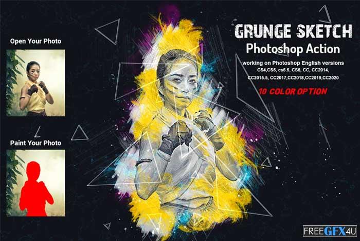 Grunge Sketch Photoshop Action