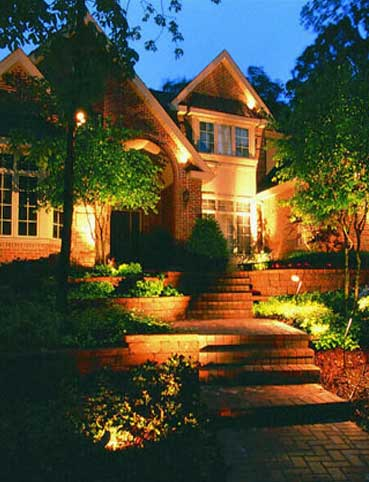 Outdoor lighting is usually on sidewalks stairs and roads installed and pointed trees walls and fences. Typical low-voltage outdoor landscape lighting ... & Office Interior Design: Outdoor Lighting
