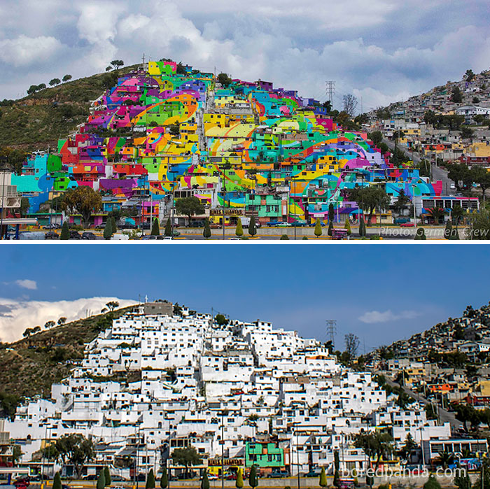 10+ Incredible Before & After Street Art Transformations That'll Make You Say Wow - The Whole Town Gets Repainted In Vibrant Graffiti, Palmitas, Mexico