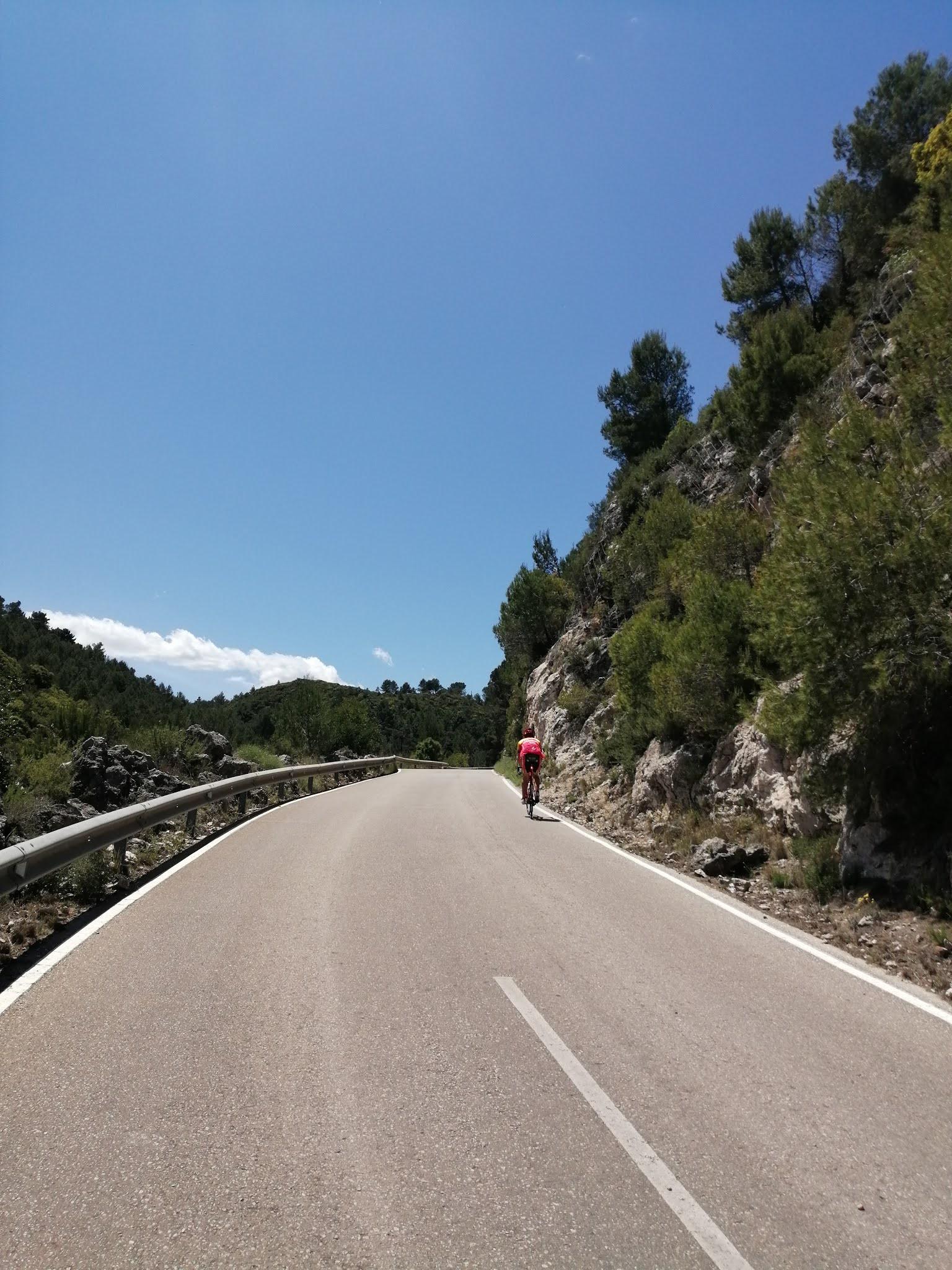 Cyclist climbing the desfile on Puerto la Llacuna
