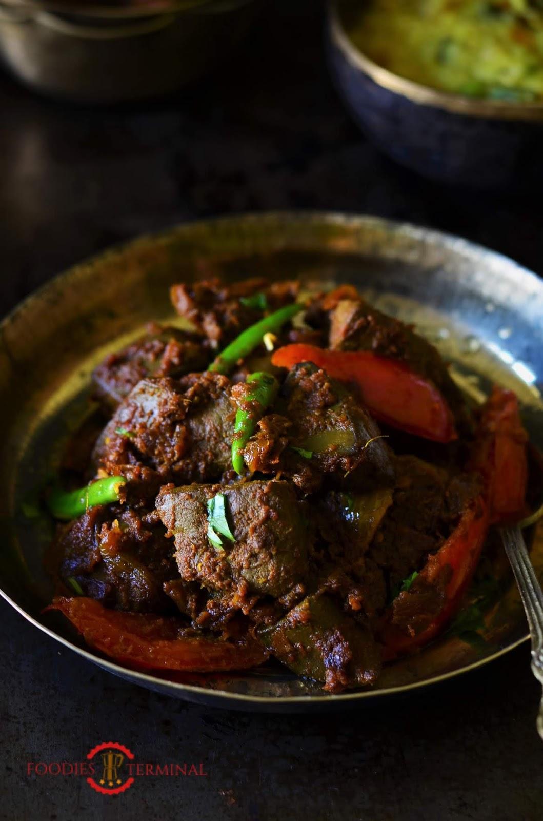 mutton liver stir-fry, bengali metey kosha recipe, mutton bhaja recipe, goat liver stir-fry recipe, quick mutton recipe, indian cuisine, quick mutton liver stir fry recipe, goat liver stir fry recipe.