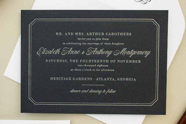metallic silver letterpress on navy paper