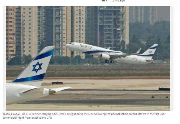 US, Israeli officials are taking the 'historic' first commercial flight to the United Arab Emirates