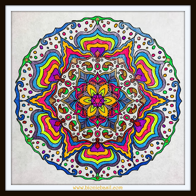 Mandalas on Monday ©BionicBasil® Colouring With Cats Mandala #95 coloured by Cathrine Garnell