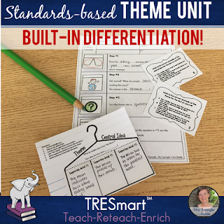 Standards-based Middle School ELA Theme Mini-Unit with BUILT-IN differentiation for content, process, and product using the teach-reteach-enrich format! #teaching #languagearts #commoncorereading #theme #lessonplans