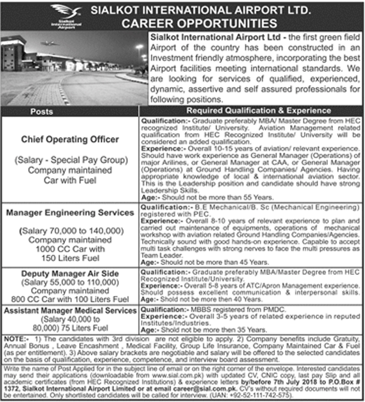 Jobs In Sialkot International Airport June 2018 for Chief Operating Officer and others