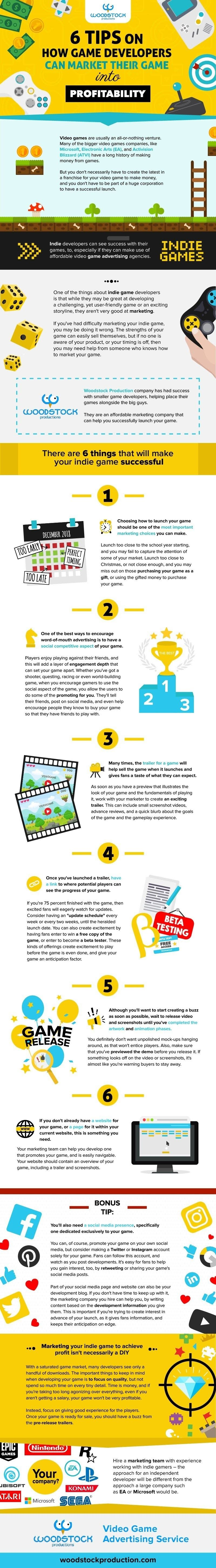 6 Tips On How Game Developers Can Market Their Game Into Profitability #infographic