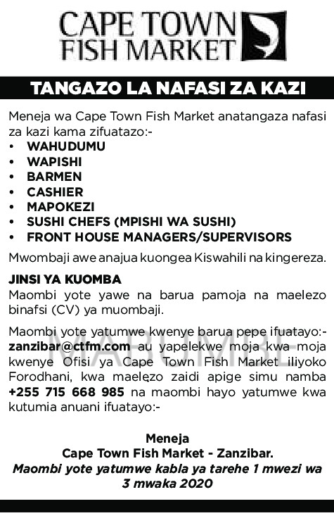 Cape Town Fish Market Jobs in Tanzania February 2020