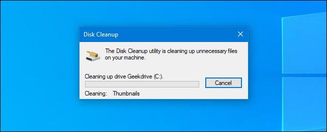 عملية تنظيف القرص في Windows 10