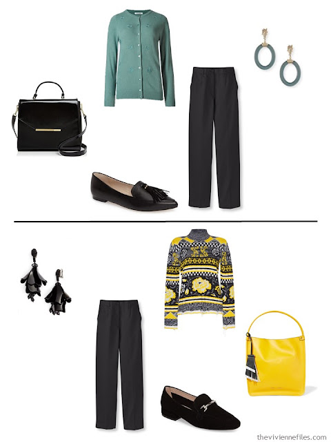 2 ways to wear a pair of black trousers