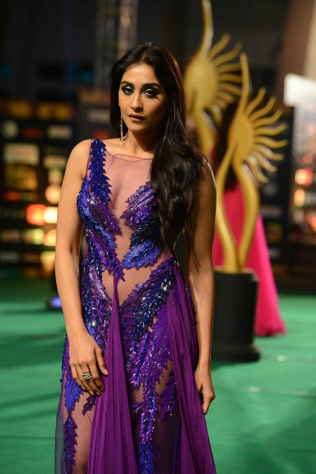 Regina Cassandra Latest Hot  Photos at IIFA Utsavam Awards In Blue Dress