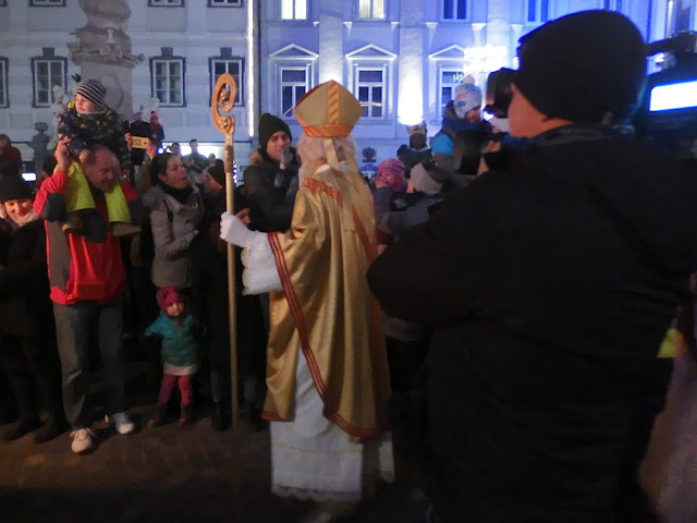 St Nicholas parades through the crowds in Ljubljana