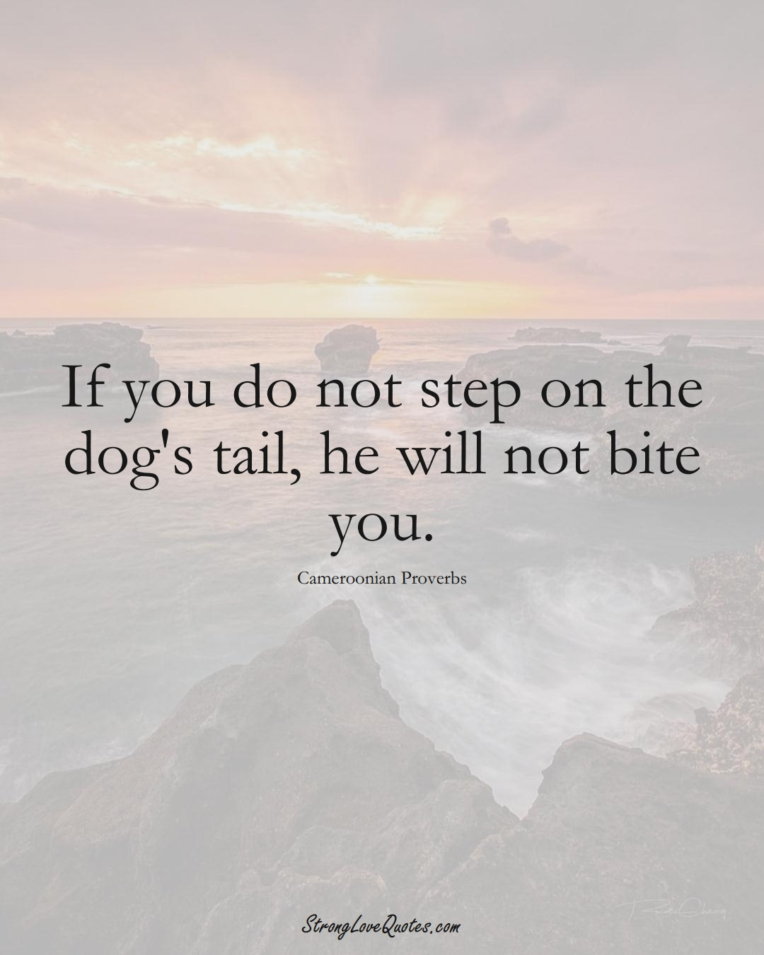 If you do not step on the dog's tail, he will not bite you. (Cameroonian Sayings);  #AfricanSayings