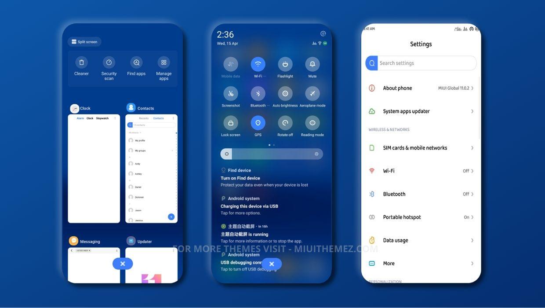 [HERUNTERLADEN] :  Fleißiges MIUI-Thema |  Cooles elegantes blaues Thema für Xiaomi Redmi Geräte