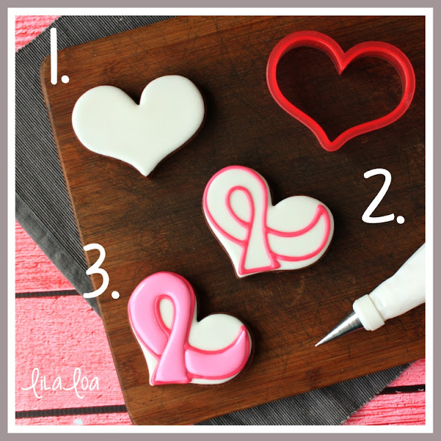 Step by step tutorial for making an awareness ribbon on a heart shape cookie
