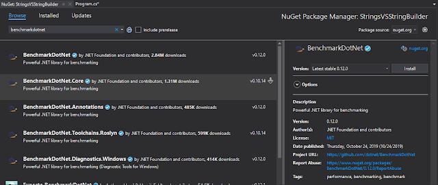 BenchmarkDotNet in NuGet