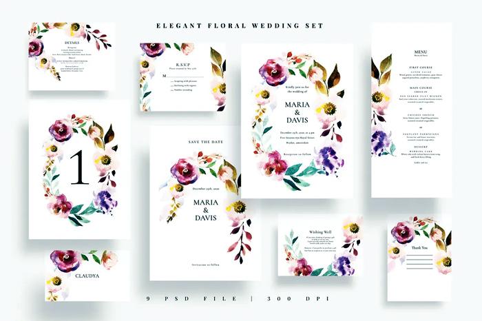 Elegant Floral Wedding PSD Bundle Set