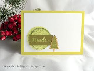 Weihnachtskarte in limette: Ideen für Resteverwertung für Schmuckrosetten aus dem Stampin' Up! Set Weihnachtsfreude Minikatalog 2017 von unabhängiger Demonstratorin in Coburg (Susis Basteltipps)