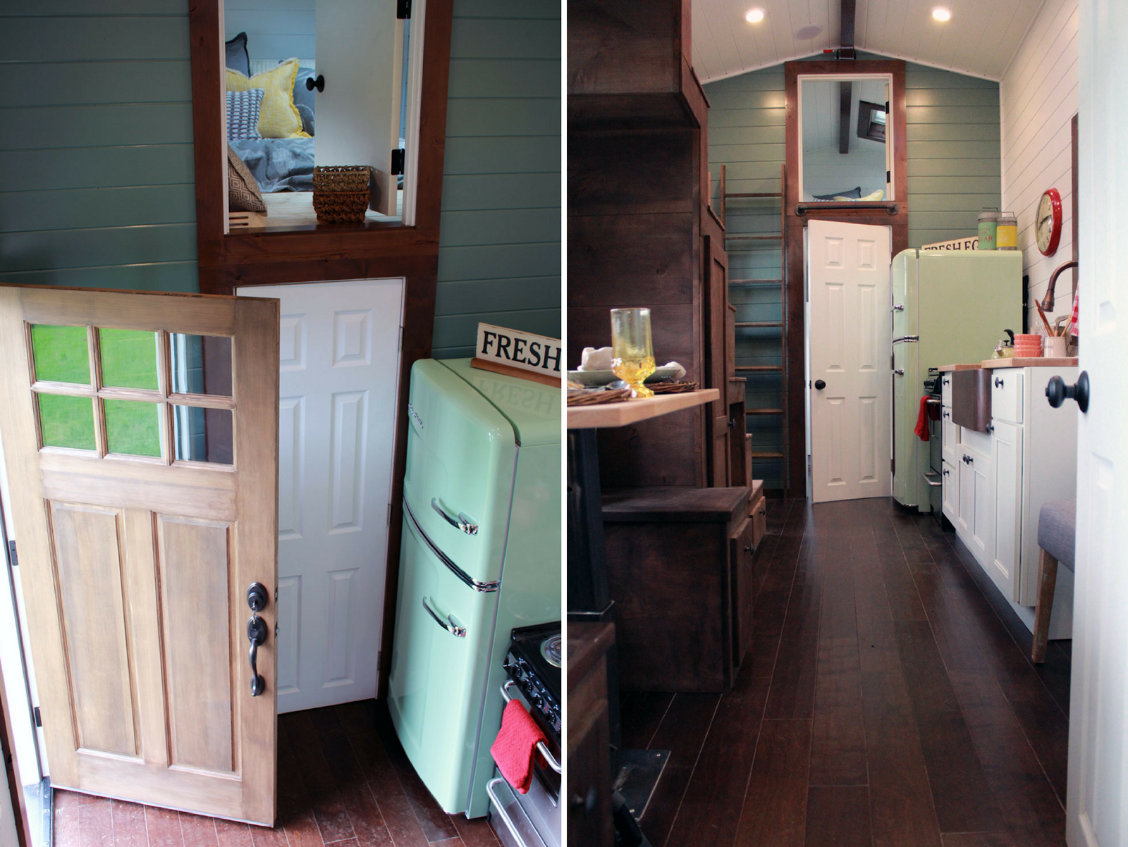 tiny house fridge. The Home Was Designed For A Military Family Of Four Who Wanted Retro-style Home. 50\u0027s Style Fridge, Classic Kettle, And Gingham Curtains Certainly Tiny House Fridge Y