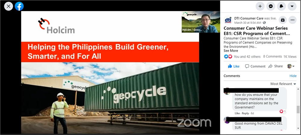 Holcim Philippines participated in the Department of Trade and Industry's Consumer Care Webinar