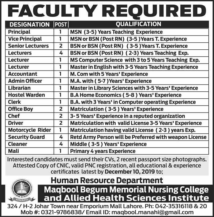 Teaching and Othe Staff required in Lahore December 2019