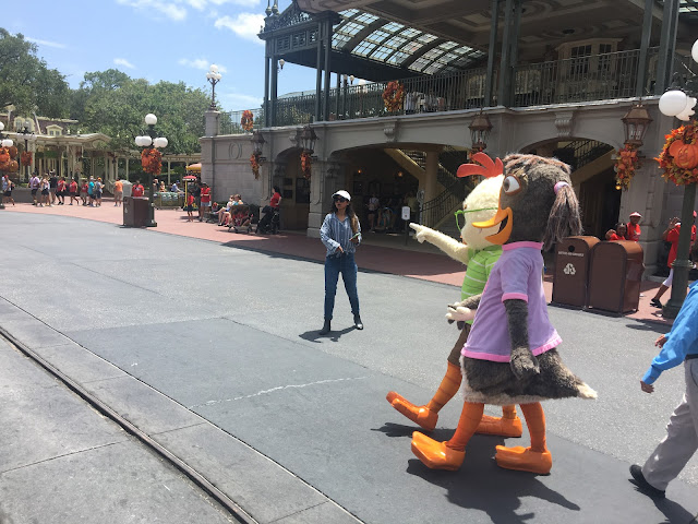 Abby Mallard and Chicken Little Characters Magic Kingdom Town Square