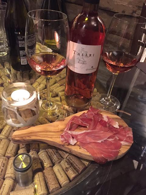 Veeno Selezione wine tasting, Wellington Place Leeds Tasari Syrah with speck, smoked ham